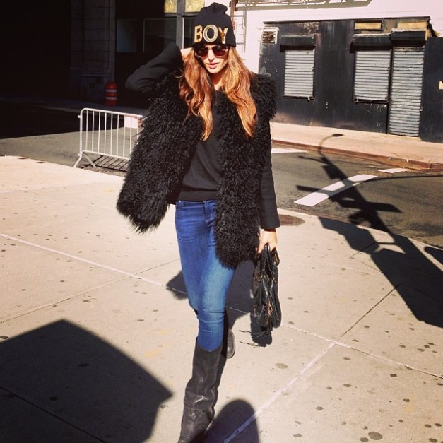 Izabel Goulart Beautiful Autumn Day in NYC